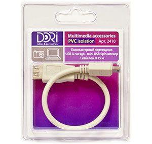 2410 Переходник USB A шт. — mini USB (5pin) шт. L=0,15 м