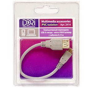 2414 Переходник USB A шт. — micro USB B шт. L=0,15 м