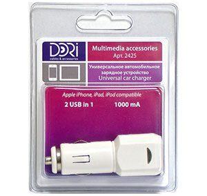 2425 USB автомобильное зарядное устройство 2 USB in 1 (1000mA, 5v)