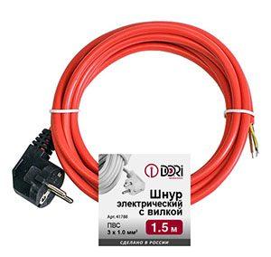 Шнур электрический с вилкой ПВС 3х1 мм2 1.5м (красный)